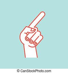 índice, direção, polegar, bent., sinal., cima, gesture., stylized, dedo, icon., mão
