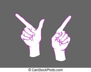 índice, direção, sinal., course., gesture., cima, dois, fêmea passa, mostrando