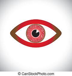 íris, olho, human, cor, abstratos, sinal, circuito, vermelho