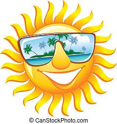 óculos de sol, alegre, sol