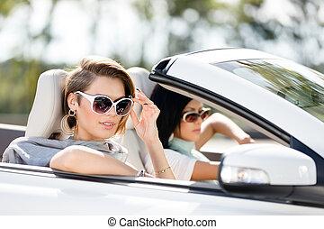 óculos de sol, automóvel, meninas, cima fim, vista