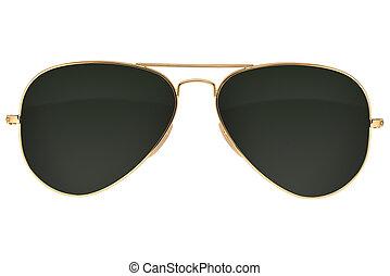 óculos de sol, aviador, isolado
