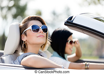 óculos de sol, car, meninas, cima fim, branca