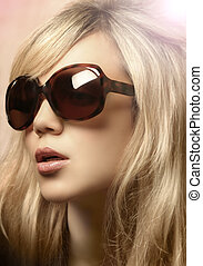 óculos de sol, menina, foto