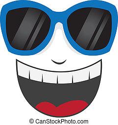óculos de sol, rosto, rir