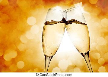 óculos, dois, champanhe, elegante