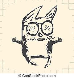 óculos, pretas, caricatura, engraçado, gato