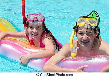 óculos proteção, crianças, piscina