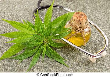 óleo, cannabis, marijuana, estetoscópio