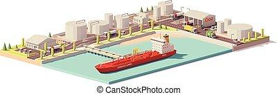 óleo, depósito, poly, vetorial, baixo, navio, petroleiro
