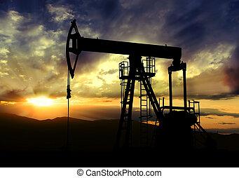 óleo, fundo, pôr do sol, bomba
