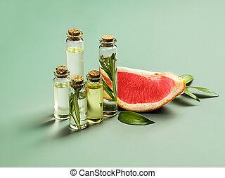 óleo, leaves-beauty, fresco, treatment., vidro, toranja, essencial, garrafa, verde, suculento