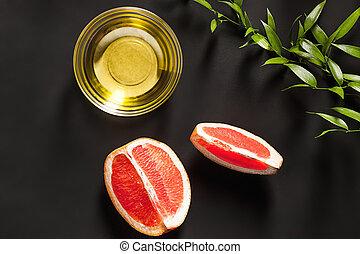 óleo, leaves-beauty, suculento, treatment., vidro, toranja, verde, garrafa, essencial, fresco