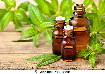 óleo, limão, madeira, folhas, verbena, tábua, essencial