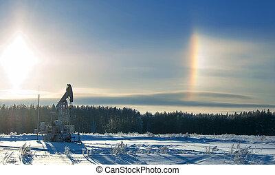 óleo, manhã, equipment., pumps., gelado, inverno, paisagem., indústria