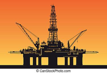 óleo, mar, derrick