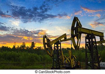 óleo, ou, derrick, natural, bombas, gás, underground.