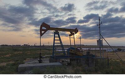 óleo, pôr do sol, balanço