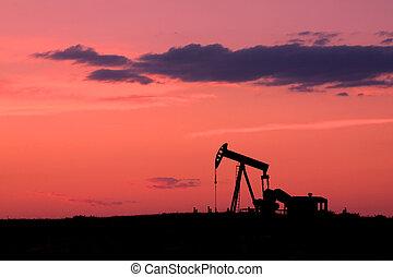 óleo, pôr do sol, pumpjack