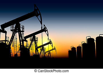 óleo, silueta, bombas
