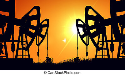 óleo, silueta, industry., macacos, sunset., bomba