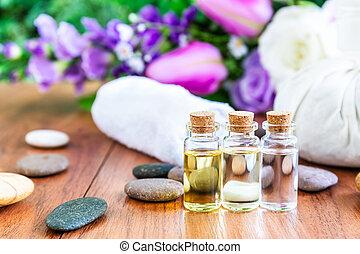 óleo, spa, garrafa, conceito, essencial