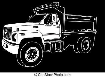 único, caminhão, eixo, entulho