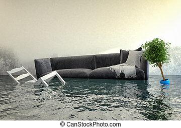 -, água, render, damager, 3d