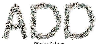 -, 100$, adicionar, crimped, contas