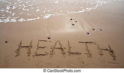 -, areia, saúde, escrita
