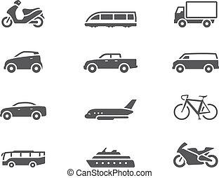 -, bw, transporte, ícones