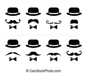 -, cavalheiro, bigode, homem, ícone