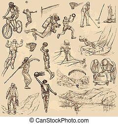 -, cobrança, mão, mistura, vetorial, desenhado, desporto