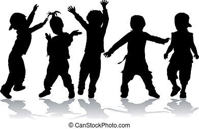 -, crianças, pretas, dançar, silhouettes.