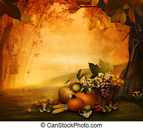 -, fruta, estação, outono, desenho