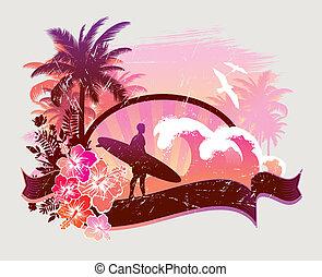 -, ilustração, surfista, tropicais, vetorial, praia