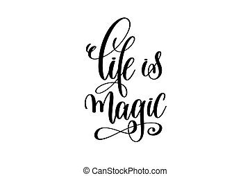 -, magia, inscrição, pretas, branca, mão, vida, lettering