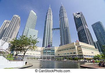 -may, edifícios, maio, (452, torres, 11, m), lumpur, lumpur., malásia, gêmeo, 1998, petronas, kuala, 2004, mundo, 2014, alto, dia, 11: