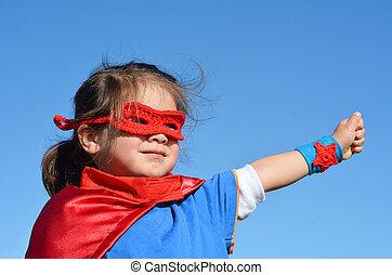 -, menina, criança, superhero, poder