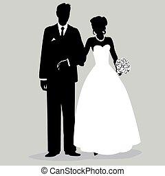 -, noivo, silueta, illust, noiva