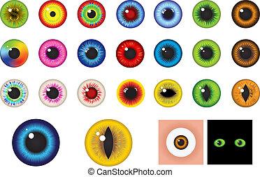-, olhos, elementos, desenho, multicolored