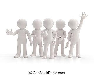 -, pessoas, grupo pequeno, melhor, 3d