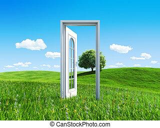 -, porta, cobrança, sucesso, natureza