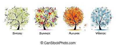 -, quatro, arte, outono, bonito, árvore, primavera, desenho, winter., estações, verão, seu