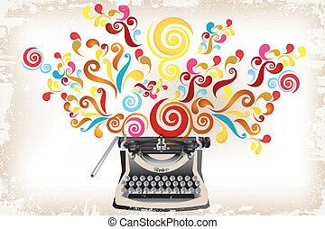-, redemoinhos, criatividade, abstratos, máquina escrever