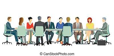 -, reunião negócio, ilustração, equipe