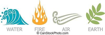 -, símbolos, água, quatro, elementos terra, ar, fogo