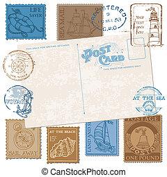 -, scrapbook, vetorial, selos, qualidade, alto, cartão postal, desenho, retro, mar