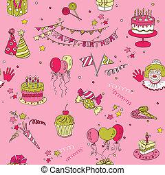 -, seamless, aniversário, vetorial, fundo, scrapbook, desenho