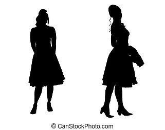 -, silueta, mulheres jovens